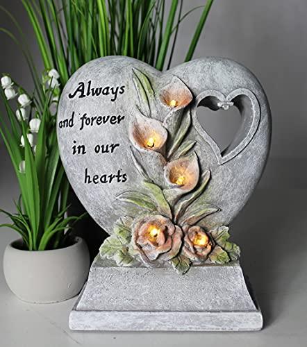 Arnusa Solarleuchte Herz mit Blüten Grableuchte GB008 Gartenlampe Laterne Dekolampe