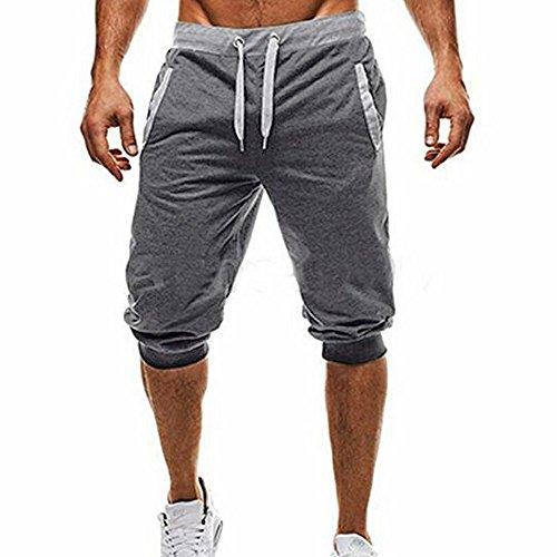 3/4 Sweatshorts Herren Bosshortft Kurze Freizeithose Sommer Cotton Sweat Short Kurze Hose Bermuda Sweatpant Kurze Jogginghose mit Tunnelzug