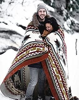 Ecuadane Large Southwestern Woven Blanket, Handmade in Ecuador by Local Artisans, Size 82