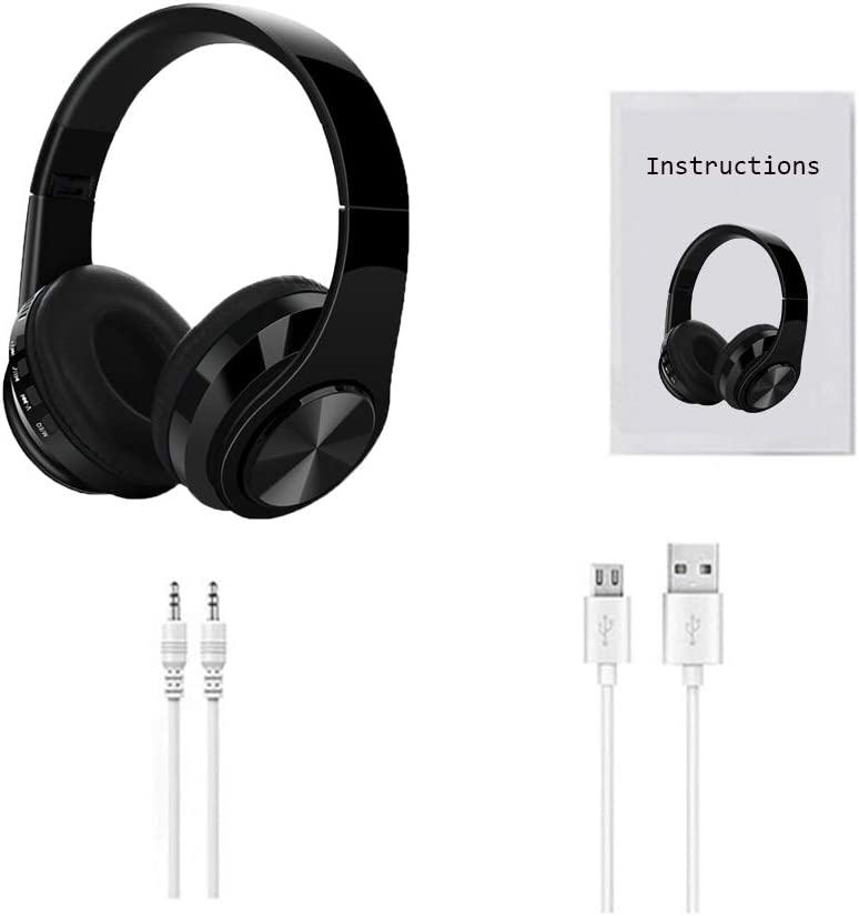 Wireless Headphones Over Ear, Bluetooth 5.0 Headphones, Wired and Wireless Modes Built in Mic, Foldable, Stereo Headsets Black