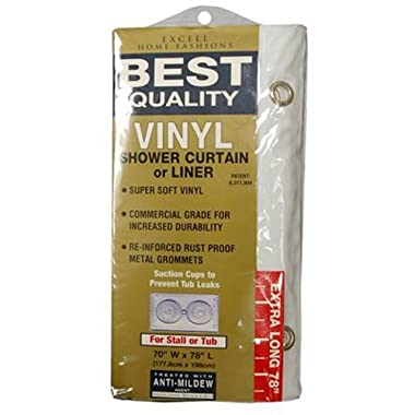 Ex-Cell Home Fashions Best Quality 70  by 78  Vinyl Shower Curtain Liner, White
