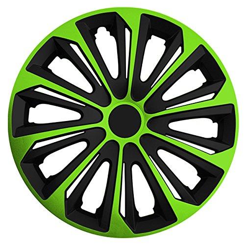 Autoteppich Stylers (Größe wählbar) 15 Zoll Radkappen/Radzierblenden Strong Bicolor (Schwarz-Grün) passend für Fast alle Fahrzeugtypen – universal