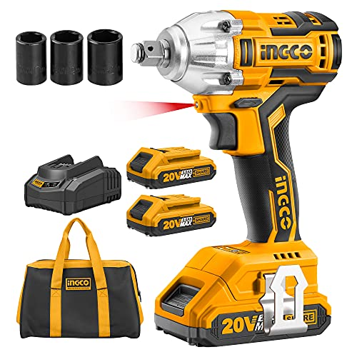 INGCO 20V Brushless Lithium-Ion Impact Wrench with 2 PCS 2.0Ah Batteries, Charger, 3pcs Sockets, 1/2 Inch, 300NM CIWLI20013