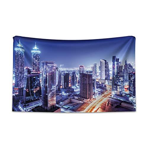 ABAKUHAUS Stadt Wandteppich, Dubai im Stadtzentrum gelegenes modernes UAE, aus Weiches Mikrofaser Stoff Für das Wohn und Schlafzimmer, 230 x 140 cm, Violettblau Orange