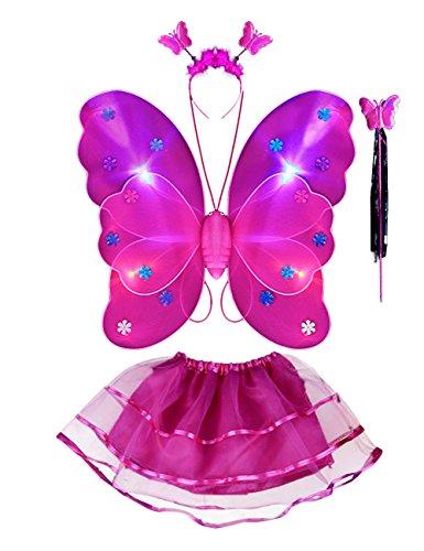 EZSTAX 4pcs LED Leuchtend Schmetterling Kostüm Halloween Cosplay Prinzessin Elfe Flügel mit Zauberstab für Party Karneval Fasching Fastnacht Halloween,Rose 1#