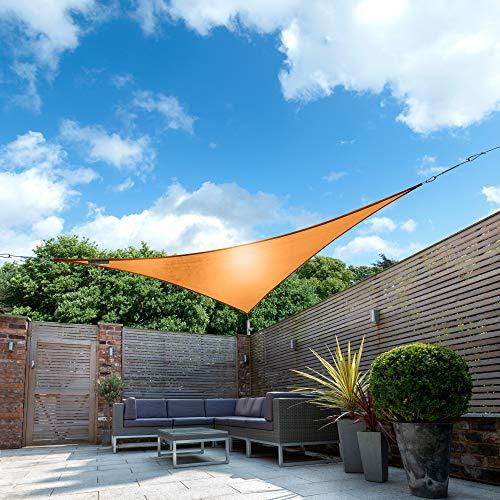 Kookaburra Sonnensegel, orange, wasserdicht, 160g / m2, Polyester, Sonnenschutz, 98 % UV-Schutz für den Außenbereich, Terrasse, Balkon