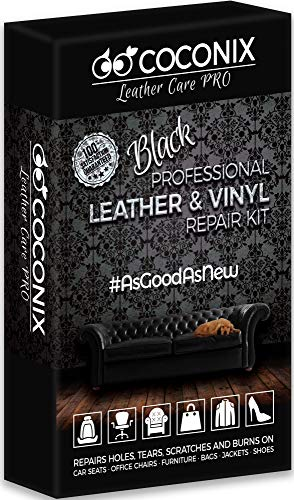 Coconix Black Leather Repair Kits for Couches - Vinyl & Upholstery Repair Kit for Car Seats, Sofa & Furniture - Liquid Scratch Filler Formula Repairs Couch Tears & Burn Holes