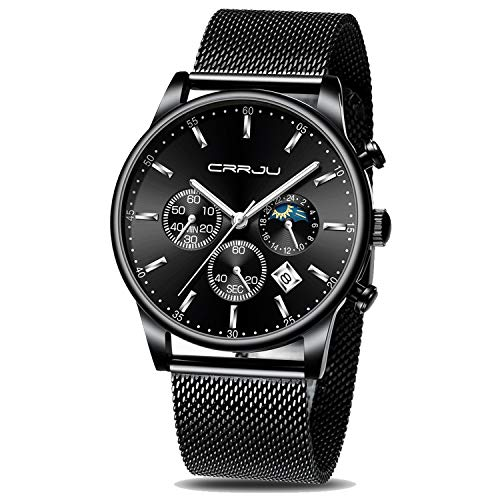 CRRJU Men Watch,Men Luxury Waterproof Unique Designed Watches 3-Sub Dial Date Mens Mesh Band Stopwatches