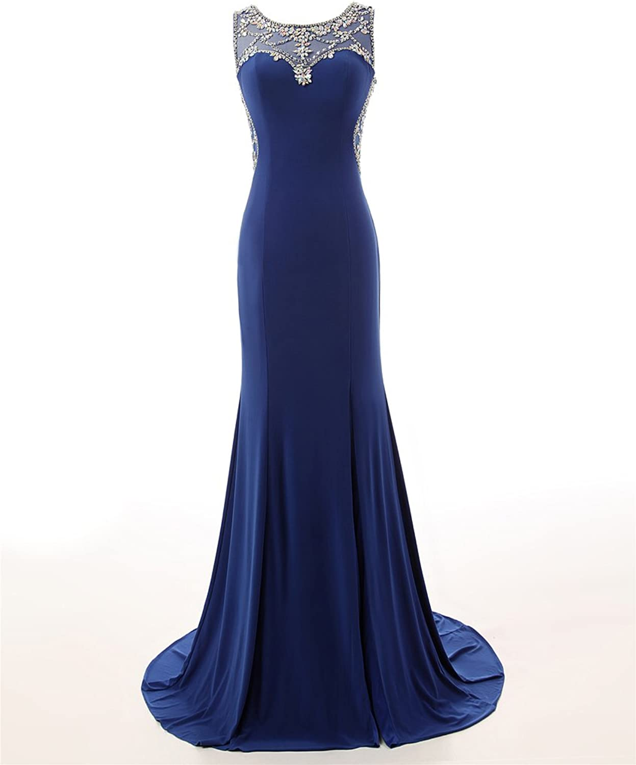 Changjie Women's Illusion Neckline Long Prom Dresses Formal Evening Gown CJ130