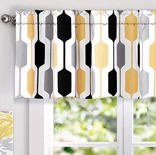 DriftAway Riley Geo Lined Window Curtain Valance Mid Century Geometric Pattern 2 Layers Rod Pocket 52 Inch by 18 Inch Plus 2 Inch Gold Yellow Gray Black