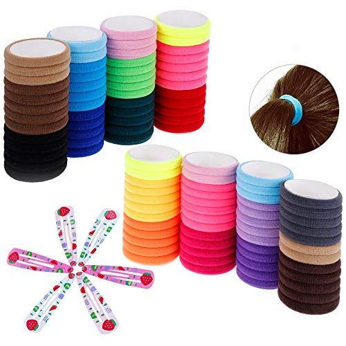 TRIXES paquet de coton 100 cheveux bande extensibles Ties - clin d'oeil coloré 6PC Clips – couleurs assorties