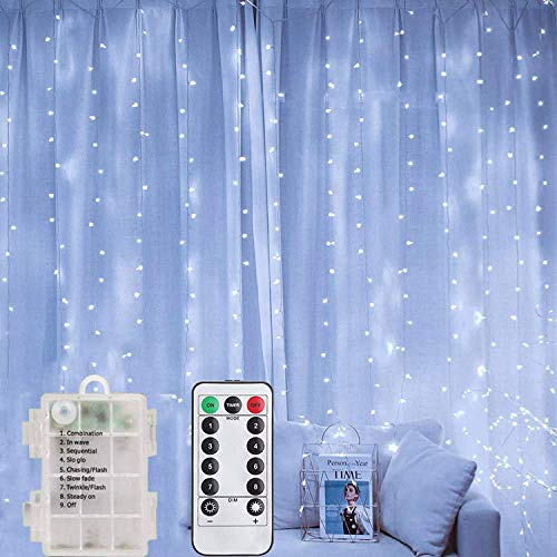 LiyuanQ LED Curtain Lights, Battery Operated Fairy Curtain String Lights 200 LED 8 Modes Outdoor Waterproof Silver Wire Lights with Remote for Garden Party Wedding Bedroom (Cool White)