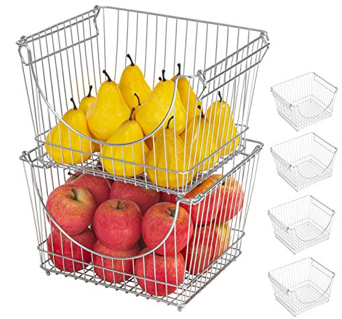 Smart Design Stacking Basket Bin Pantry Freezer Storage Organizer - Large (12.63 x 8.5 Inch) - Steel Metal Wire - Fruit, Vegetable, Onion, Potato, Cans - Kitchen [Chrome] - Set of 6
