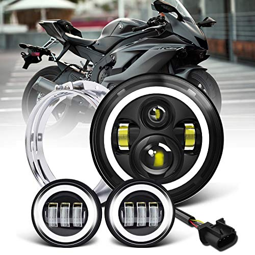 7 inch LED Headlight Fog Passing Lights DOT Kit Set Ring Motorcycle Headlamp Ring for Harley Davidson Touring Road King Ultra Classic Electra Street Glide Tri Cvo Heritage Softail Deluxe Fatboy Black
