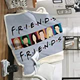 Friends Blanket TV Show Home Fuzzy Lightweight Fleece Blanket Throw Plush Fluffy Blanket All Season Gray Throw Blanket for Couch Bed Soft Microfiber Flannel Blanket for Holiday (Gray, 55x59 Inches)