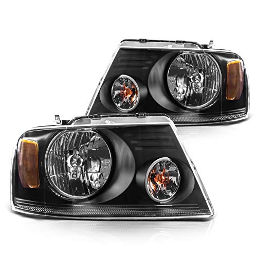 F150 Truck Headlight Housing from Torchbeam, Replacement Headlight Assembly for 2004-2008 F150 Truck/2006 Mark LT, Black Housing Amber Reflector Clear Lens Driver and Passenger Side