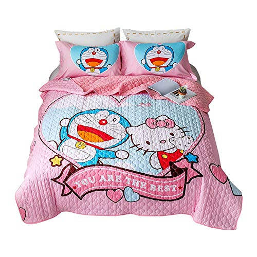 Papa&Mima Cartoon Anime Quilting Stitching 3pcs Coverlet Bedspread Set,Blanket,Pillowcases - Cotton and Velvet Microfiber Material - 200x230cm(78'x90') - Doraemon Hello Kitty Blue Pink