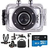 Vivitar DVR781HD-SIL HD Action Waterproof Camera/Camcorder, Silver Bundle with Deco Gear Outdoor Action Kit with Clip Head Mount for Action Camera & Lexar 32gb microSDHC Memory Card