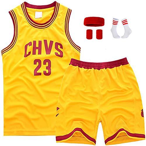 Kinder-Basketballuniform-Set, Lebron James Nr. 23, Cleveland Cavaliers Swingman-Jersey-Oberteil und Hose, geeignet für Geschenke für Kinder-CHVSyellow23-3XS
