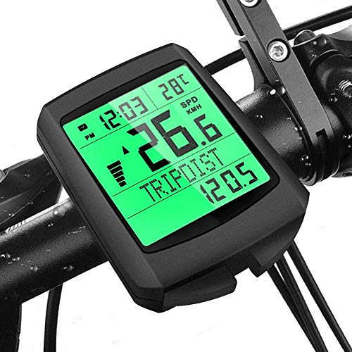 Lyeiaa Fahrradcomputer Kabellos, 19 Multifunktions Fahrradtacho Fahrrad Tachometer Radcomputer mit LCD-Hintergrundbeleuchtung Kilometerzähler, IP65 wasserdichte, 5 Sprache, für alle Fahrradtypen