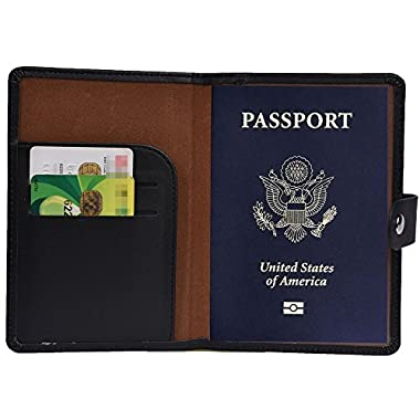 RFID Blocking Passport Holder Wallet Cover Case Leather Travel Journey Wallet (Black)
