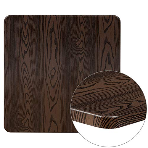 Mahogany Resin Table Top with 2 Thick Drop-Lip Flash Furniture 24 x 42 2-Tone High-Gloss Cherry
