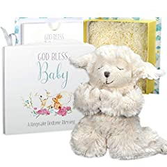 """GOD BLESS BABY GIFT SET is a beautifully packaged gift set that includes a """"Pray With Me"""" Plush Lamb that recites the prayer """"Now I lay me down to Sleep"""" when you press his tummy. The gift set includes the """"God Bless Baby"""" board book, a keepsake bedt..."""