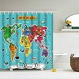 IcosaMro Kinder-Duschvorhang für Badezimmer mit Haken, Bunte Zoo-Tiere, für Jungen & Mädchen, dekorativ, Langer Stoff, Duschvorhang-Set, Badedekoration, 71 x 72 l, Blau