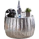 FineBuy Couchtisch JAMALI 60x36x60 cm Aluminium Silber Beistelltisch orientalisch rund | Flacher Sofatisch Metall | Design Wohnzimmertisch modern | Loungetisch Stubentisch klein