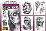 Day of The Dead Skull Women Tattoo Flash Design Book 66-Pages