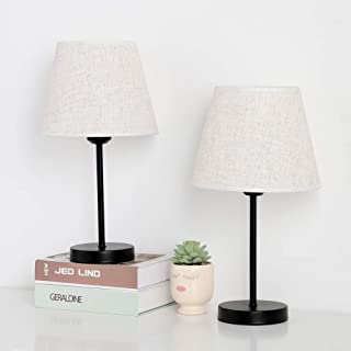 Table Lamp for Bedrooms, Small Bedside Desk Lamps Set of 2, Black Metal Nightstand Lamp with Linen Shade for Dressers Coffee Table College Dorm
