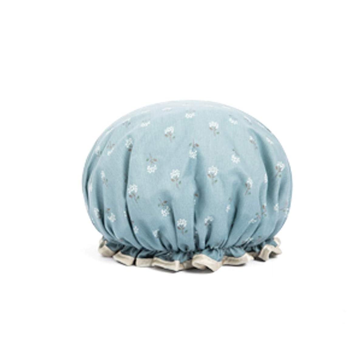 内訳高潔な追い出すHENGTONGTONGXUN シャワーキャップ、田舎風防風シャワーキャップ、防水シャワーキャップ、女性用シャワーキャップ、シャワー用シャワーキャップ、かわいいキッチン防油キャップ、ブルー、ライトブルー、イエロー、ピンク (Color : Light blue)