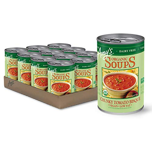 Amy's Soup, Vegan, Gluten Free, Organic Tomato Bisque, Low Fat, 14.1 oz (Pack of 12)