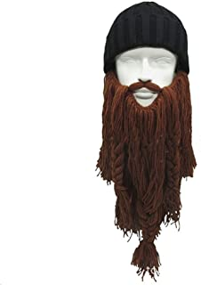 Fancy Face Mask Halloween Handmade Winter Wool Mustache Braid Caps Pirate Face Mask Viking Long Beard Hat Christmas Carnival Cosplay Party Gift Funny Knitted Hats