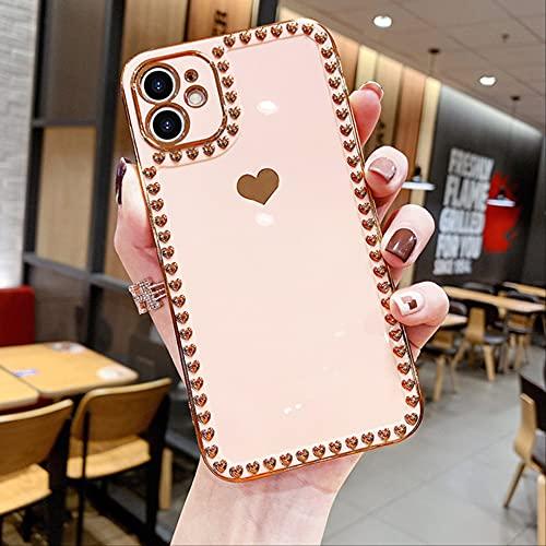 Estuche para teléfono con corazón de Amor electrochapado para iPhone 12 11 Pro MAX 12Pro XR XS MAX X 7 8 Plus 12Mini 11 Carcasa Trasera Suave para Parachoques de Revestimiento para iPhone X T2