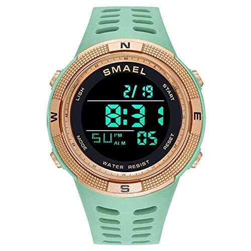 Reloj de pulsera digital LED con luz de fondo para hombre, reloj de pulsera militar luminoso, resistente al agua, con esfera grande, color verde