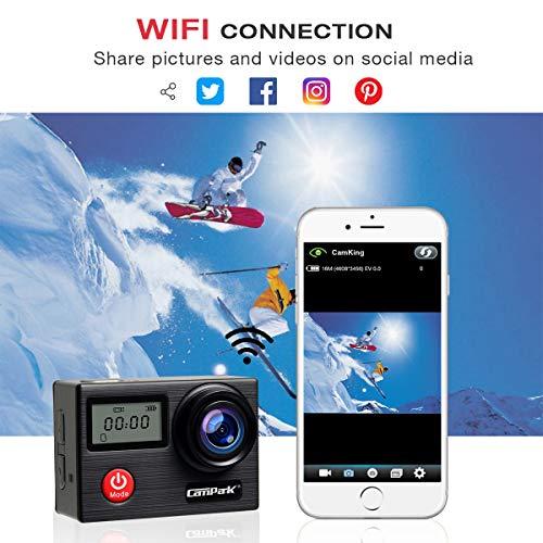 Campark X20 Action Cam 4K Ultra HD 20MP Touchscreen WiFi Fernbedienung EIS Anti-Shaking Unterwasserkamera wasserdichte 30M mit 170 ° Weitwinkel Verstellbar und Zubehör-Kits - 7