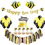 PRATYUS Bee First Birthday Party Decorations Set for Baby Showers Bumblebee Themed Party Supplies With Happy Bee Day Banner & Cake Topper, Yellow Highchair Banner, Bee Balloons for Girls Boys