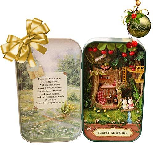 HEEPDD Kinder DIY Spielzeg,DIY Mini Hölzernes Puppenhaus Miniaturen 3D Puzzles DreamHouse Handgemachte Miniatur mit Möbeln LED Geburtstagsgeschenk Hausaufgaben(Wald)