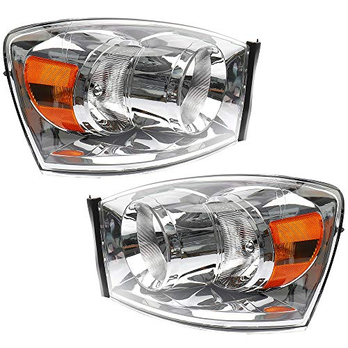 BRTEC Headlights Assembly Kit for 2007-2008 DODGE RAM 1500 PICKUP; 2007-2009 DODGE RAM 2500 PICKUP; 2007 2008 2009 DODGE RAM 3500 PICKUP Passenger Side and Driver Side Clear Halogen Headlamps