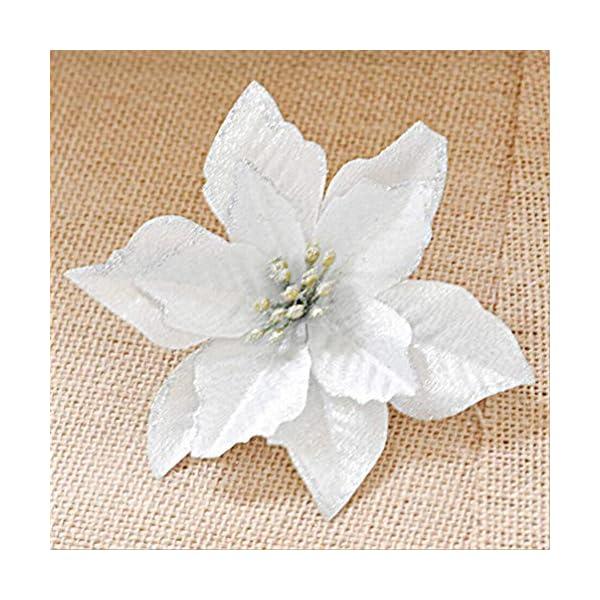 STOBOK 13cm Flores Artificiales Brillo Flor de Pascua Adornos para árboles de Navidad Decoraciones de Boda de Navidad…