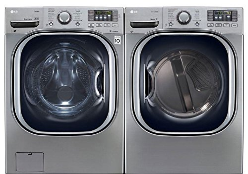 """LG Graphite Steel Front Load Laundry Pair with WM4270HVA 27"""" Washer and DLEX4270V 27"""" Electric Dryer in Graphite Steel"""