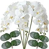 FagusHome 4 Piezas Flores Artificiales Orquídea Phalaenopsis Mariposa 80cm con 4 Piezas Hojas de...