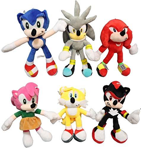 QIMA Sonic Toy 6pcs / Lot Sonic Peluche de Juguete Sonic The Hedgehog muñeca Azul Amarillo 28cm Sonic Plush Peluche Suave para niños Regalo de cumpleaños