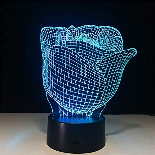 KangYD Luz romántica de la noche de la flor de Rose 3D, lámpara de la ilusión óptica del LED, A - Touch negra Base (7 colores), Lámpara de dormitorio, Regalo de fiesta, Lámpara de ilusión