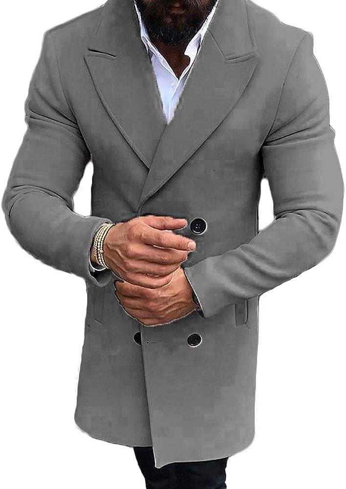 lookwoild Mens Long Double Breasted Trench Coat Gentlemen Formal Wear Jacket Overcoat Outfits Pea Coats (Grey, XXXL)