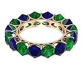 Banda moderna de eternidad, anillo creado en laboratorio de zafiro azul de 5,2 quilates, anillo de esmeralda creado en laboratorio hexagonal de 3,8 quilates, 18K Oro rosa, Size:EU 57