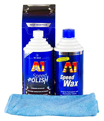 Dr. Wack 1x A1 Speed Polish Politur & Speed Wax Wachs 500 ml & Mikrofasertuch