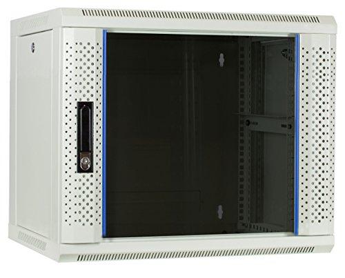 9 HE Serverschrank, Wandgehäuse, mit Glastür, Weiß, (BxTxH) 600 x 450 x 500mm