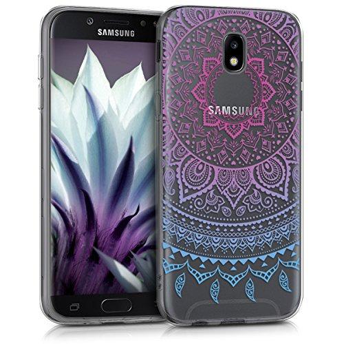 kwmobile Cover Compatibile con Samsung Galaxy J5 (2017) DUOS - Custodia in Silicone TPU - Back Case Cover Protettiva Cellulare Sole Indiano Blu Fucsia Trasparente